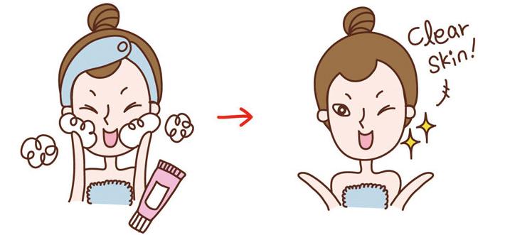 洗臉洗的很乾淨的女人
